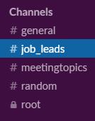 Slack channel for Job Leads